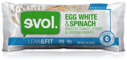 Evol Lean & Fit, Egg White & Spinach Breakfast Burrito, 5 Ounce (Frozen)