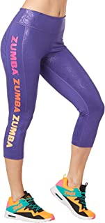 Zumba Dance Fitness Compression Pants Workout Print Capri Leggings for Women, Grape, X-Small