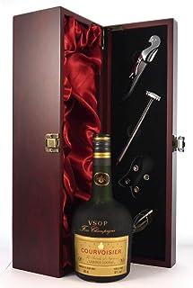 """Courvoisier VSOP Fine Champagne Cognac 1960""""s bottling in einer mit Seide ausgestatetten Geschenkbox, da zu 4 Weinaccessoires, 1 x 700ml"""