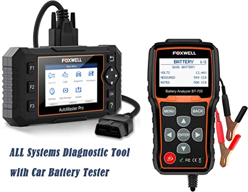 popular FOXWELL OBD2 Scanner NT624E All 2021 Systems Diagnostic Scan Tool with FOXWELL BT705 Car Battery discount Tester sale