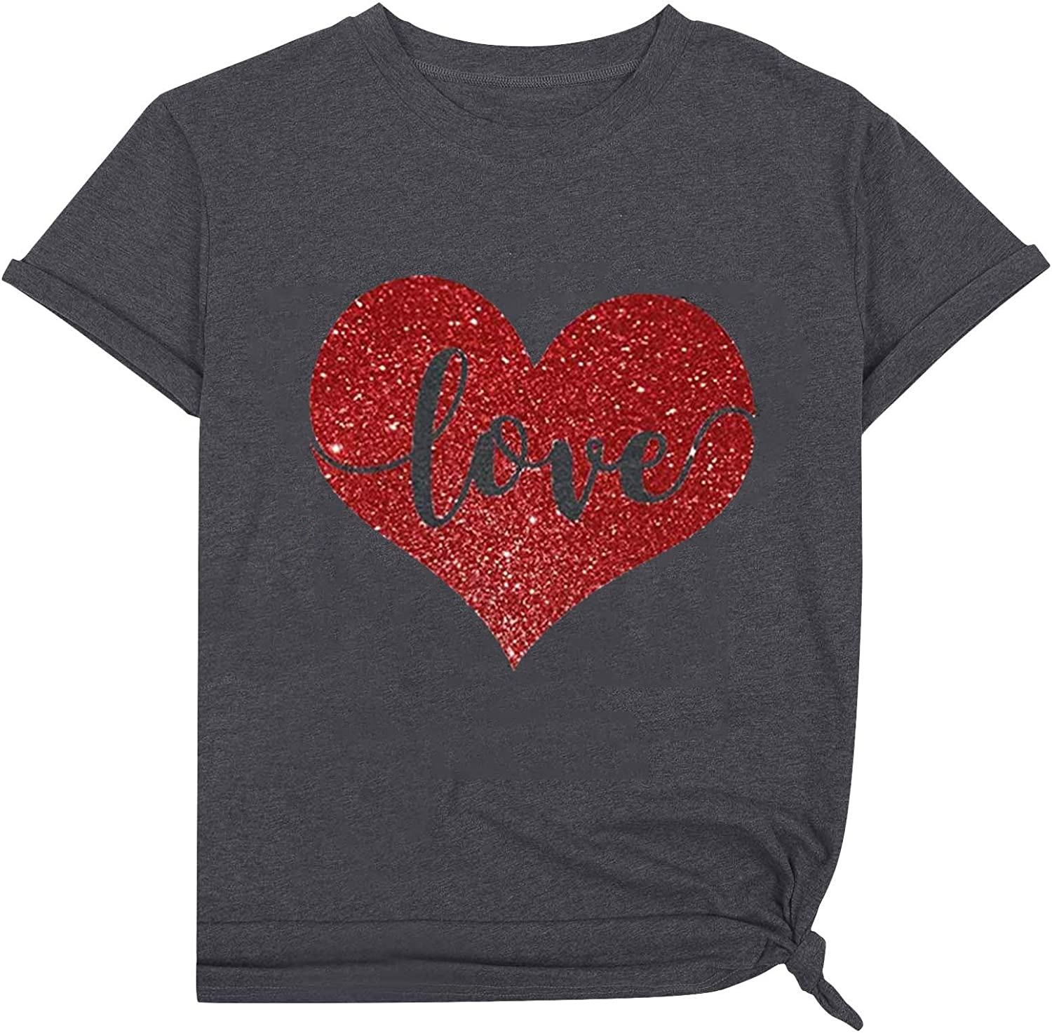 Valentine's Day T-Shirt Womens Letter Sleeve Large-scale trend rank sale Cre Tee Print Short