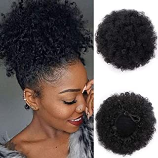 AISI QUEENS Afro Puff Drawstring Ponytail Synthetic Short Afro Kinkys Curly Afro Bun Extension Hairpieces Updo Hair Extensions with Two Clips (Black-1#)