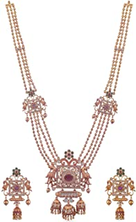 Tarinika Myra Gold-Plated Indian Jewelry Set with Long Necklace and Earrings - White Red Green