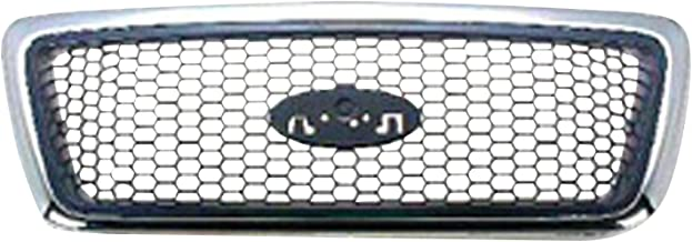 HEADLIGHTSDEPOT Front Grille Chrome Frame with Black Honeycomb Inner Compatible with Ford F-150 2006-2008 XLT Model