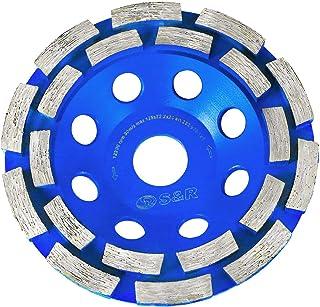 S&R Diamantkopphjul 125 x 22,23 mm, Diamant Slipning Kopphjul för betong, granit, natursten, sten, murverk, 2-rad diamant ...