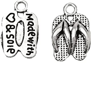 Monrocco 40pcs Flip Flop Charms Slipper Charms Antique Making Vintage Tibetan Silver for Jewelry Making