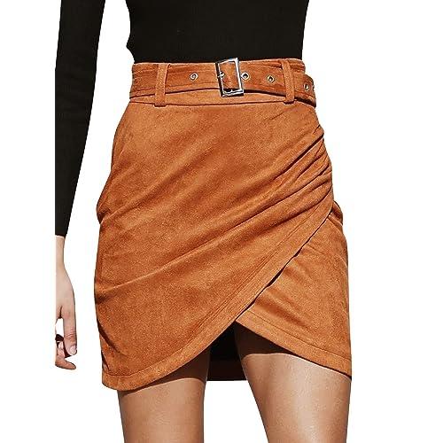 2ad910fd58df72 Fondlee Women's Suede High Waist Belt Short Skirt Casual Bodycon Pencil  Faux Leather Mini Skirt
