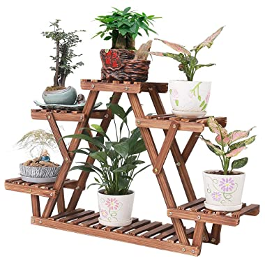 Wood Plant Stand Indoor 6 Tier Flower Pot Holder Shelf Corner Plant Display Shelving Rack Organizer Shelves for Balcony Garden Patio Living Room (Triangular,A Frame,Cute,Small,Upgrade)
