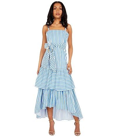 BCBGMAXAZRIA Tiered Stripe Dress with Tie