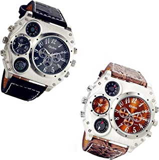 Men's Watch Oversize Steampunk Dual Time Zone Four Dial Big Face Watches Soft Leather Band Policy Army Compass Thermometer Decorative Dial Cool Wrist Watch for Halloween Costume Party
