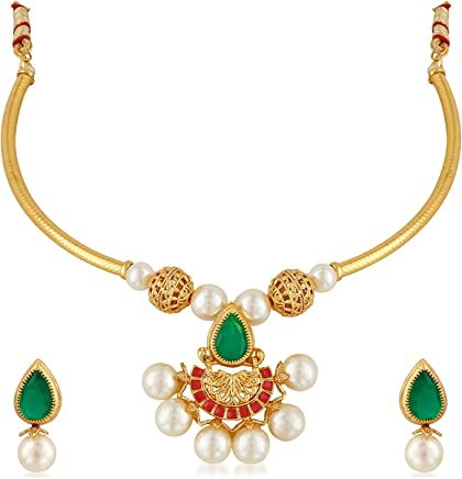 Apara Gold Brass Contremporary Jewellery Set for Women