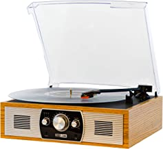 Altec Lansing Belt-Drive Stereo Turntable with Bluetooth, FM Radio and Built-in Speakers