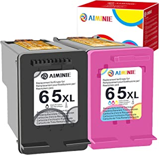 AIMINIE Remanufactured Ink Cartridge Replacement for HP 65XL 65 XL Black Tri-Color to Use with DeskJet 2600 2622 2652 3722...