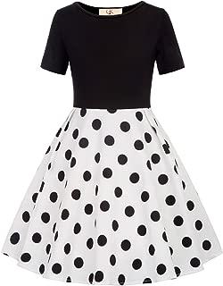 Girls Polka Dots/Floral Flared A-Line Dress