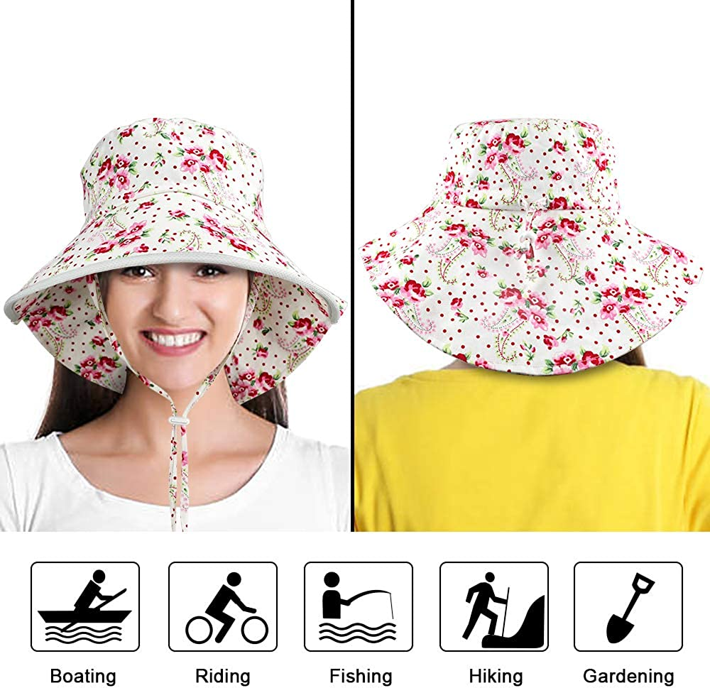 Megawodar Womens Sun hat Wide Brim Outdoor Fishing Hat with Large Neck Flap Hiking Hats for Women