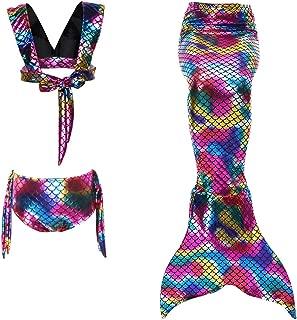 Wiwsi Kids Girls 3Pcs Costumes Swimmable Mermaid Tail Swimming Bikini Swimwear