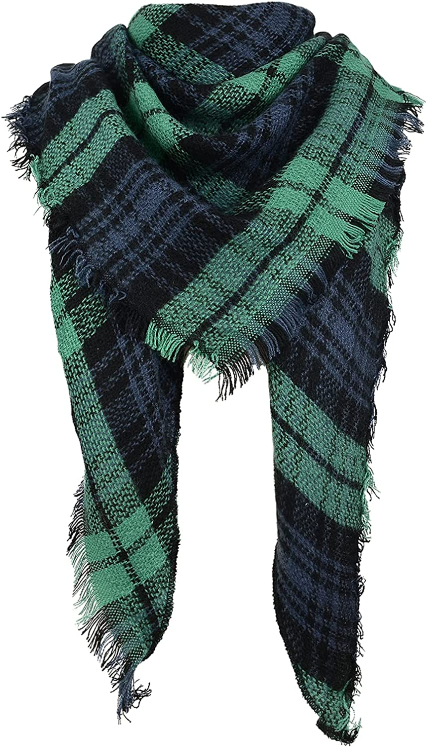 Scarfs for Women Winter Triangle Scarf Classic Plaid Warm Scarf Oversized Soft Scarves Large Knitted Wrap Shawl