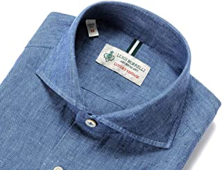 ルイジボレッリ ルイジボレリ LUIGI BORRELLI / 20SS!製品洗いリネンポプリン無地ホリゾンタルカラーシャツ「NA35(9129)」 (インディゴブルー) メンズ