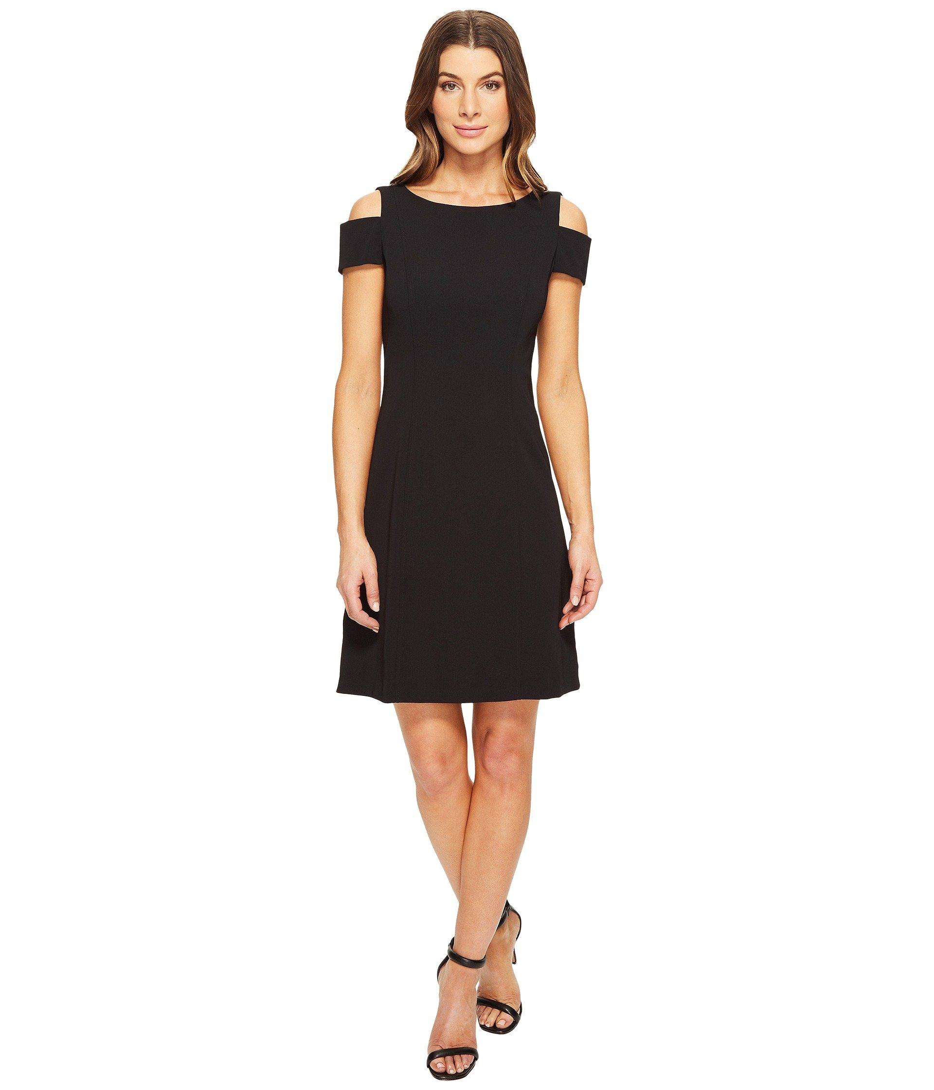 Power Stretch Cold Shoulder A-Line Dress