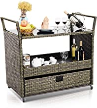 black rattan bar cart