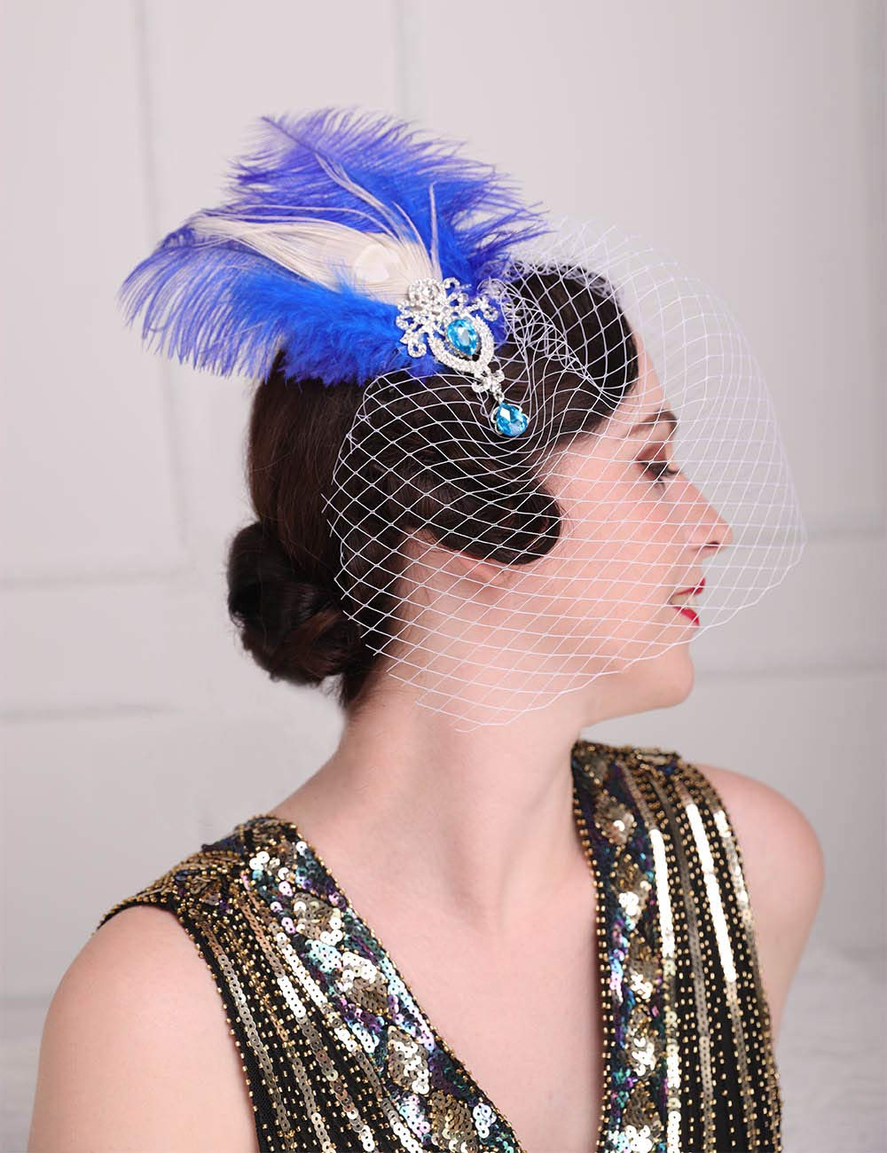 Aimimier 1920s Flapper Feather Hair Clip with Birdcage Veil Great Gatsby Headpiece Prom Party Peacock Feather Fascinator for Women and Girls