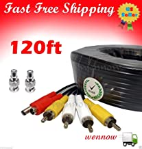 Wennow 120ft Black Audio Video & Power RCA Cable for Lorex Security CCTV Camera