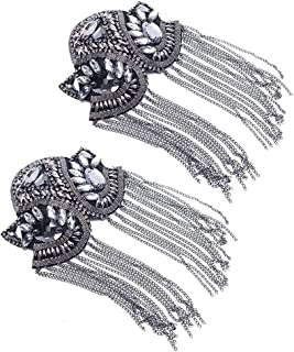 Zthread Women Children Shoulder Epaulet Crystal Beads Chain Shoulder Brooch Boards Badge Stage Dress Medal Accessories by The Pair