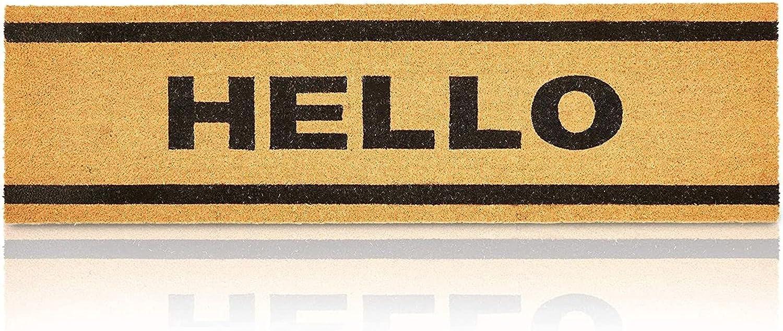 Hello Long Entry Way Doormat, Nonslip Natural Coco Coir Mat (17 x 60 in)