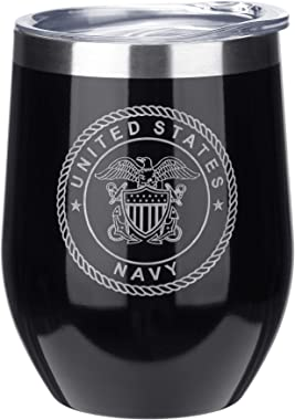 FAYERXL Personalized Stainless Wine Tumblers Engraved Wine Glass Cup for Marine Corps/Air Force/Army/Navy/Coast Guard/Police