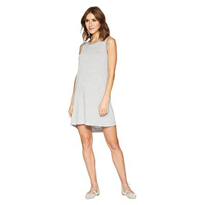 Allen Allen Stripe Short Tank Top Dress (Grey/White Stripe) Women