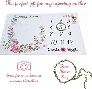 "Monthly Milestone Baby Blanket and Flower Crown, Newborn Photo Props (60"" x 40"")"