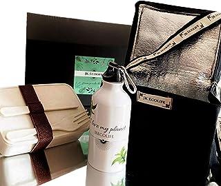 Propia Neceser Porta Alimentos, Nevera térmica con Botella de Agua de Aluminio 500ml y Fiambrera de bambú Libre de BPA con Cubiertos, Apto para lavavajillas y microondas