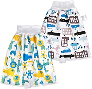 MooMoo Baby 2 Packs Waterproof Diaper Skirt for Potty Training Baby Comfy Diaper Short for Boys and Girls Night Time