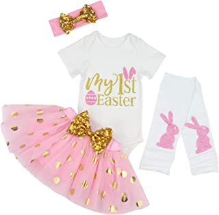 9a18e6be028 Baby Girls 4PCs Sets My 1st Easter Tutu Romper Dress Short Bodysuit  Headband Outfit for 3