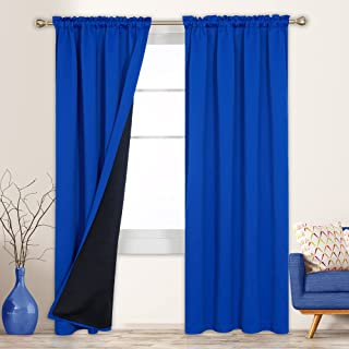 Deconovo 100% Blackout Curtains 95 Inches Long Set of 2, Total Light Blocking Window Drapes, Thermal Insulated Soundproof ...