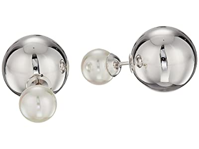 Majorica 8mm Round Pearl and 14mm Double Stud Ball Earrings (White) Earring