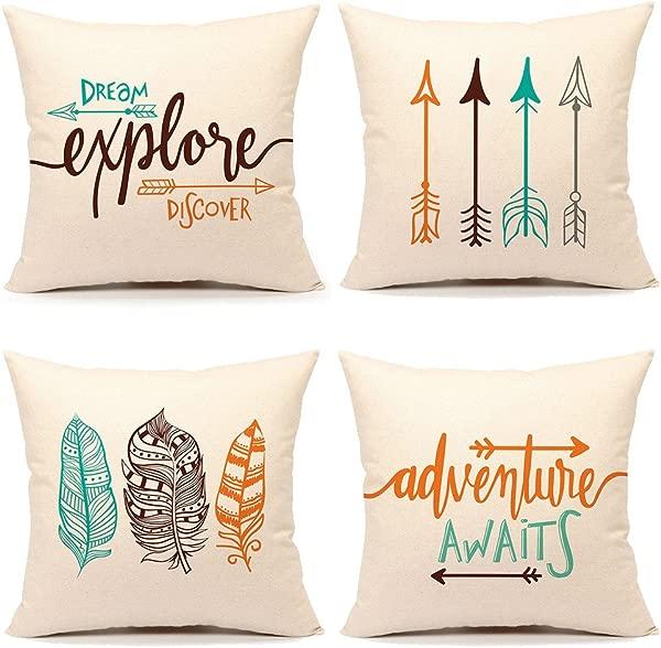 励志报价抱枕套靠垫套装饰棉亚麻 18x18 套 4 冒险等待梦想探索发现民族箭羽毛