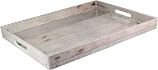 American Atelier Wooden Serving Tray – Large Rustic Decorative Platter w/Carry Handles in Gorgeous Maple Wood for Food, Drinks, Ottoman or Centerpiece – Perfect Gift Idea for Birthday, Holiday & More