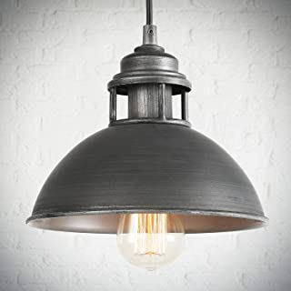 LOG BARN Pendant Lighting with Cutouts on Top, Industrial Kitchen Island, Dining Room and Bedroom, Black Silver Brushed