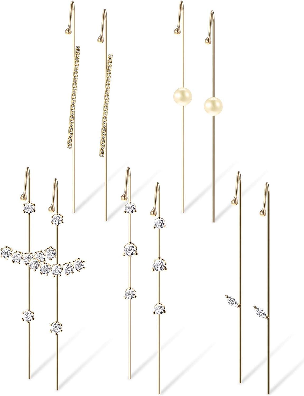 5 Pairs Ear Cuff Wrap Crawler Hook Earrings, Gold Simple Women Crawler Earrings Classic Jewelry Hook Earrings for Women Birthday Party