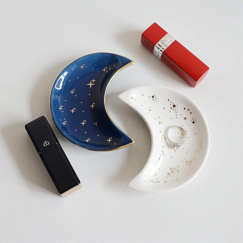 Yuemei 1St/ück Kleiner Mond Aufbewahrungstablett Simples Keramik Schmuck Schmucktablett Ohrring Organizer f/ür Kosmetische Schmuckaufbewahrung Keramik-Aufbewahrungstablett A