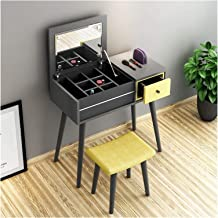 Makeup Desk with Drawers for Bedroom Dressing Table with Foldable Mirror and Stool, Modern Solid Wood Desk for Office Chri...
