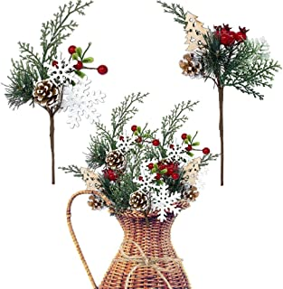 Woodsy Floral Picks Set of 10 –Snow Tip Pinecone Red Berries Sprays Wooden Embellishments– DIY for Christmas Garlands Wreaths Flower Arrangements Rustic Home Décor
