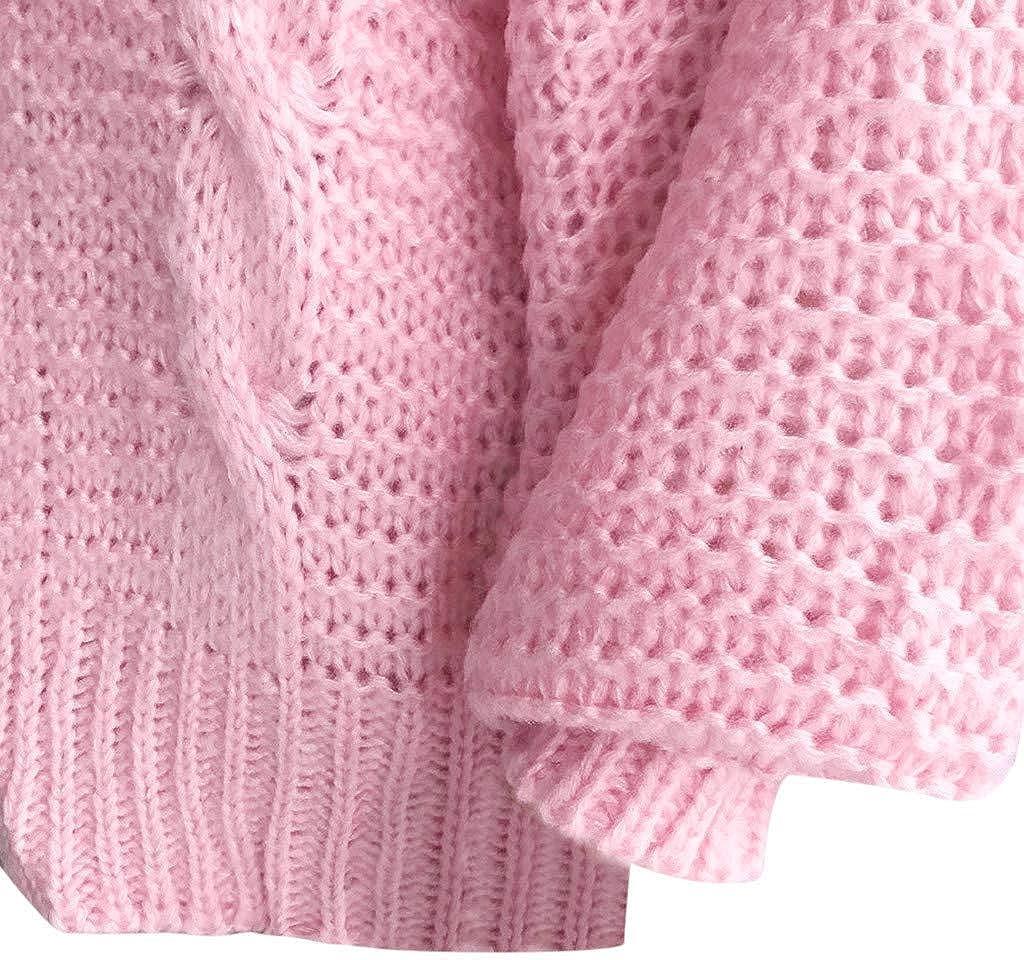 Auifor Damen Herbst Winter Cardigan Top,Langarm Strickjacke Cardigan Strickcardigan mit Knopf,Women Lange ÄRmel Solid Color Casual Mantel Pullover Coat Strickjacke Tops Rosa