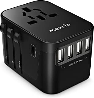 Travel Adapter, Maxcio International Universal Travel Power Adapter with 5.6A Smart Power 4USB + 3.0A USB Type-C Worldwide All in One Wall Charger AC Power Plug Adapter for USA EU UK AUS Phone Laptop