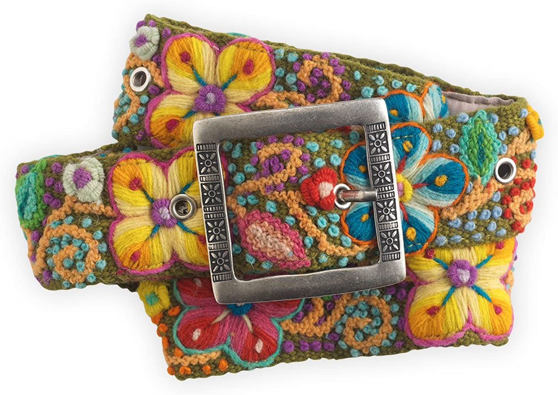 TeyArt Flora Hand Embroidered Fair Trade Wool Belt (Olive)