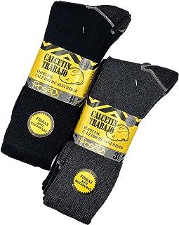 POSETS, Pack de 6 pares - Calcetines de trabajo para hombre reforzados en talón y punta