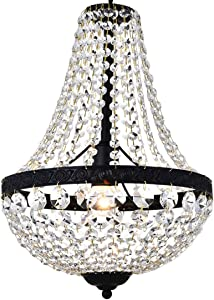 Moderno Imperio francés Acabado en negro Cristal colgante Araña de iluminación Lámpara de lámpara de techo LED para el comedor Cuarto de baño Dormitorio Salón 1E27 Bombillas requeridas H45cm X D30cm