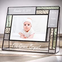 Personalized Baby Picture Frame Green and Yellow Engraved Glass 4x6 Horizontal Photo Nursery Decor Newborn Gift for Girl or boy J Devlin Pic 430-46H EP530
