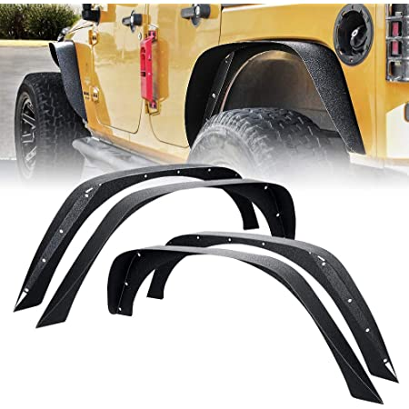 4PCS Set!!! ECOTRIC Textured Black Heavy Duty Solid Flat Fender Flares Mud Guards Front /& Rear for 2007-2018 Jeep Wrangler JK /& Unlimited